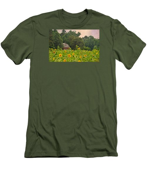 Red Barn Among The Sunflowers Men's T-Shirt (Slim Fit) by Sandi OReilly