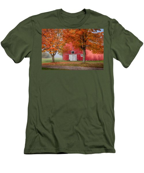 Men's T-Shirt (Slim Fit) featuring the photograph Red Barn With White Barn Door by Jeff Folger