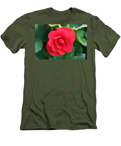 Men's T-Shirt (Slim Fit) featuring the photograph Red Begonia by Sergey Lukashin