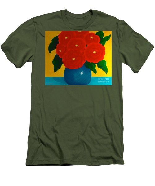 Men's T-Shirt (Slim Fit) featuring the painting Red Bouquet by Anita Lewis