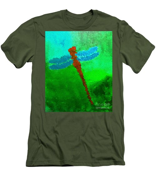 Men's T-Shirt (Slim Fit) featuring the digital art Red Dragonfly by Anita Lewis