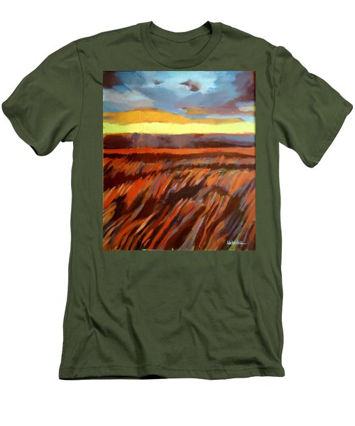 Men's T-Shirt (Slim Fit) featuring the painting Red Field by Helena Wierzbicki