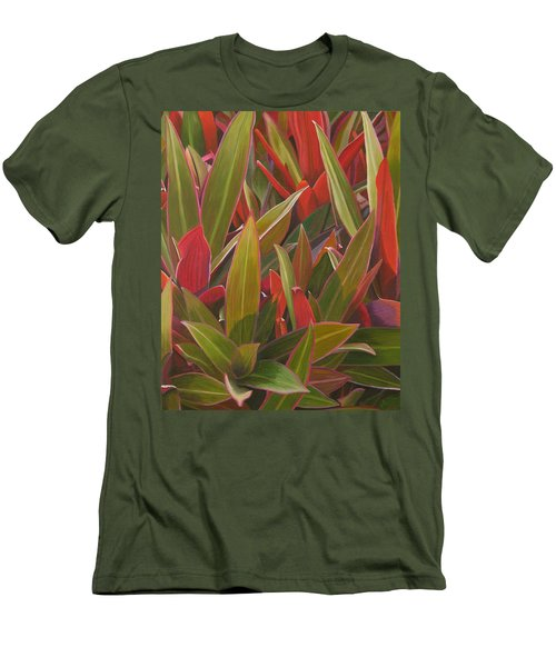 Men's T-Shirt (Slim Fit) featuring the painting Red Green And Purple by Thu Nguyen