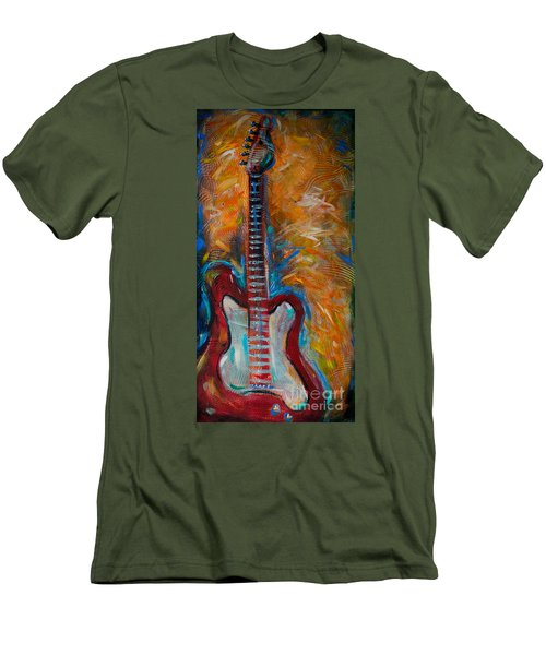 Red Guitar Men's T-Shirt (Slim Fit) by Linda Olsen
