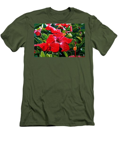 Men's T-Shirt (Slim Fit) featuring the painting Red Hibiscus by Marionette Taboniar