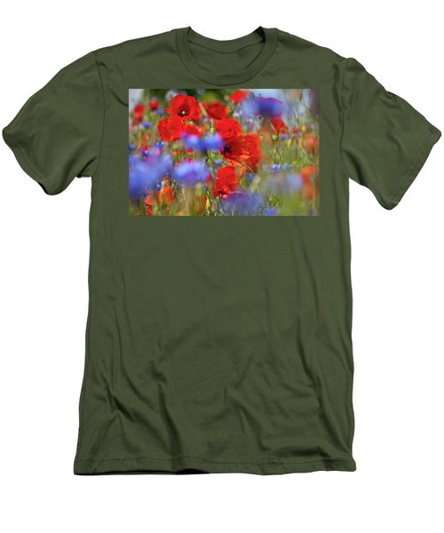 Red Poppies In The Maedow Men's T-Shirt (Slim Fit) by Heiko Koehrer-Wagner