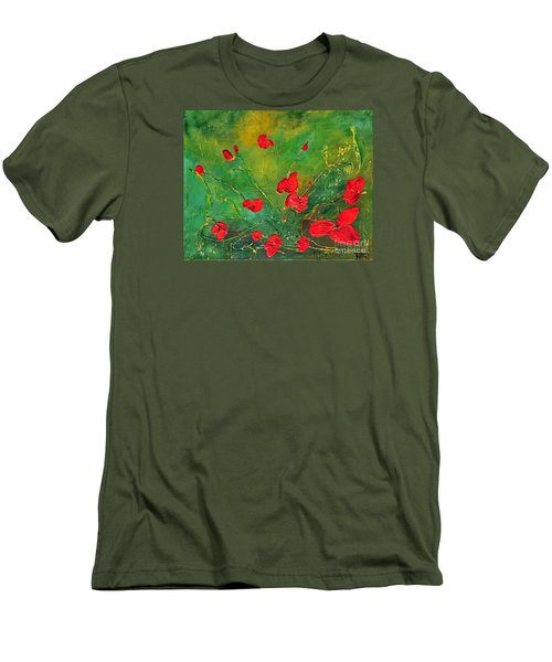 Men's T-Shirt (Slim Fit) featuring the painting Red Poppies by Teresa Wegrzyn