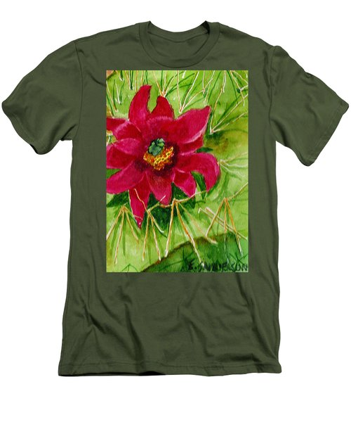 Men's T-Shirt (Slim Fit) featuring the painting Red Prickly Pear by Eric Samuelson