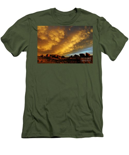 Red Rock Coulee Sunset Men's T-Shirt (Slim Fit) by Vivian Christopher