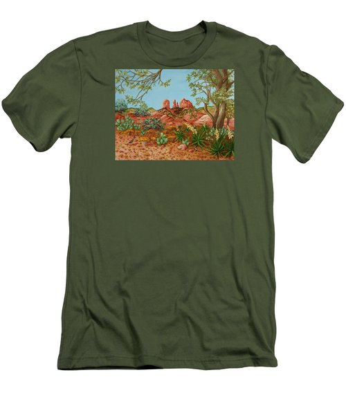 Men's T-Shirt (Slim Fit) featuring the painting Landscapes Desert Red Rocks Of Sedona Arizona by Katherine Young-Beck
