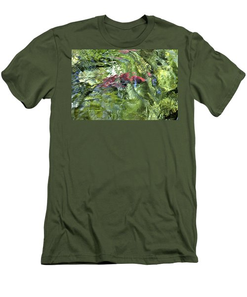 Men's T-Shirt (Slim Fit) featuring the photograph Red Salmon In Steep Creek by Cathy Mahnke