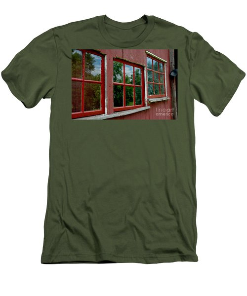 Men's T-Shirt (Athletic Fit) featuring the photograph Red Windows Paned by Christiane Hellner-OBrien