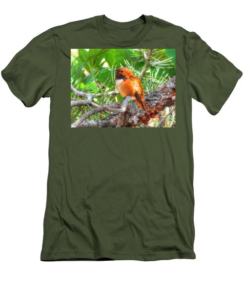 Men's T-Shirt (Slim Fit) featuring the photograph Redheaded Hummingbird II by Lanita Williams