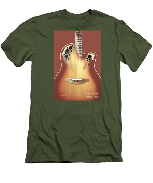 Redish-brown Guitar On Redish-brown Background Men's T-Shirt (Athletic Fit)