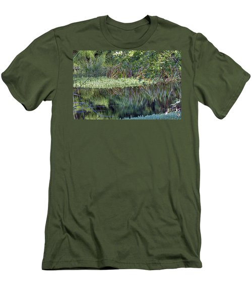 Men's T-Shirt (Slim Fit) featuring the photograph Reed Reflections by Kate Brown