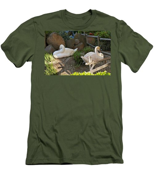 Men's T-Shirt (Athletic Fit) featuring the photograph Resting Swan Mates by Michele Myers