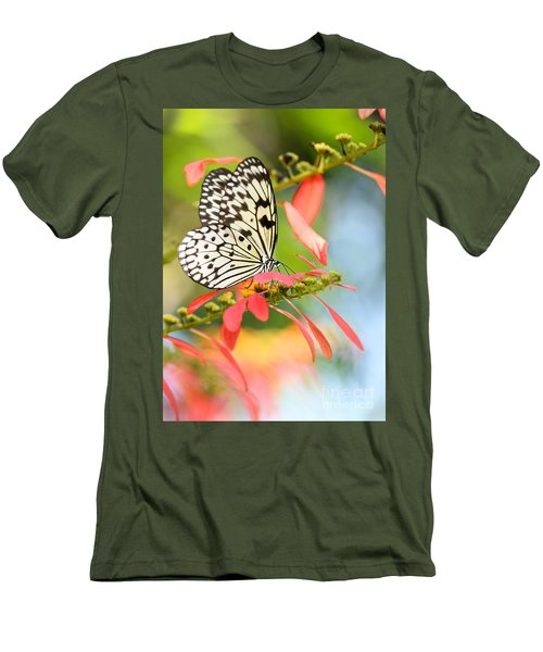 Rice Paper Butterfly In The Garden Men's T-Shirt (Athletic Fit)