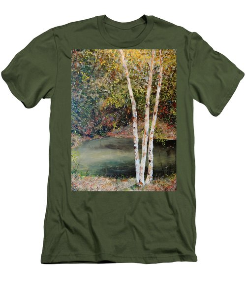 Men's T-Shirt (Slim Fit) featuring the painting River Birch by Alan Lakin