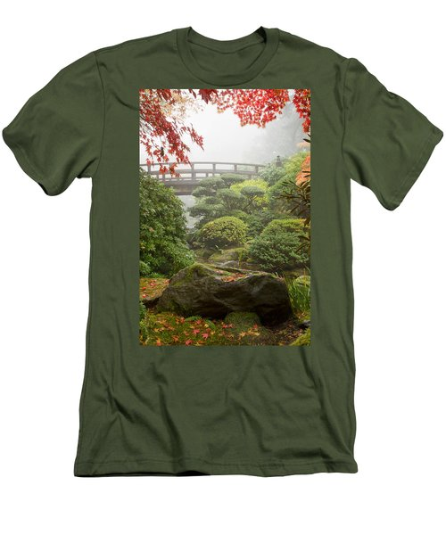 Men's T-Shirt (Slim Fit) featuring the photograph Rock And Bridge At Japanese Garden by JPLDesigns