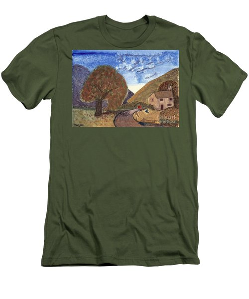 Men's T-Shirt (Slim Fit) featuring the painting Romantic Walk by Tracey Williams