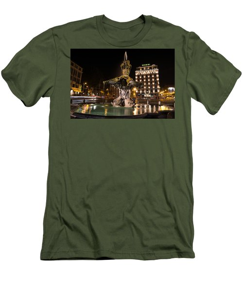 Rome's Fabulous Fountains - Bernini's Fontana Del Tritone Men's T-Shirt (Athletic Fit)