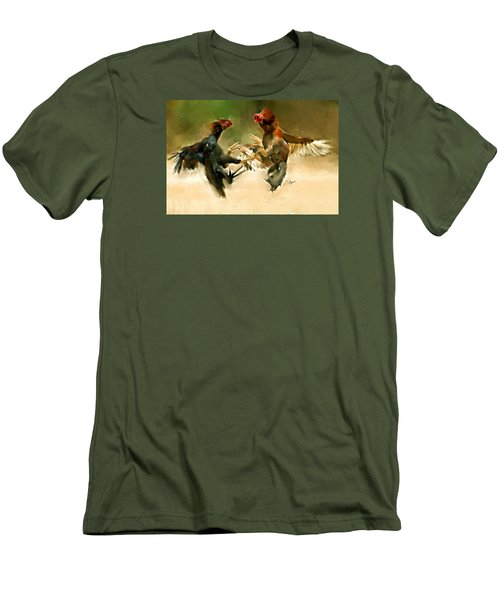 Rooster Fight Hd Men's T-Shirt (Athletic Fit)