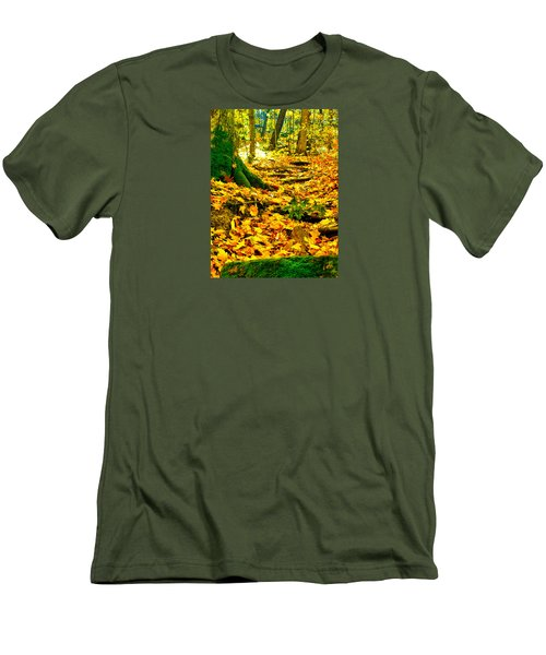 Men's T-Shirt (Slim Fit) featuring the photograph Root Steps by Zafer Gurel