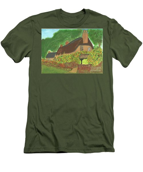 Men's T-Shirt (Slim Fit) featuring the painting Rose Cottage by Tracey Williams