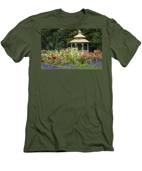 Men's T-Shirt (Slim Fit) featuring the photograph Rose Garden Gazebo by Sonya Lang
