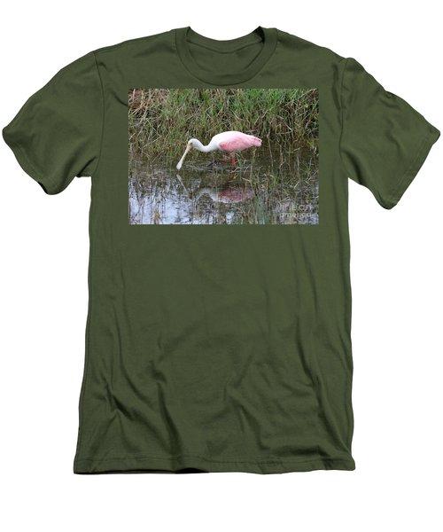 Roseate Spoonbill Reflection Men's T-Shirt (Slim Fit) by Carol Groenen