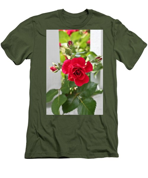 Men's T-Shirt (Slim Fit) featuring the photograph Roses Are Red by Joann Copeland-Paul