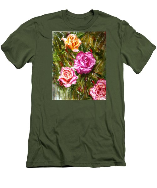 Men's T-Shirt (Slim Fit) featuring the painting Roses by Harsh Malik