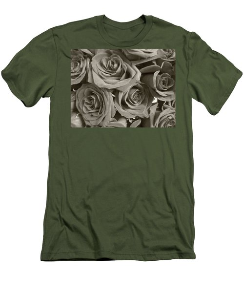 Men's T-Shirt (Slim Fit) featuring the photograph Roses On Your Wall Sepia by Joseph Baril