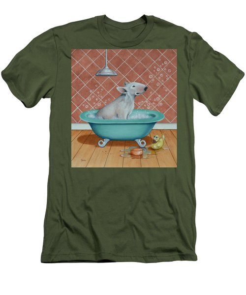 Men's T-Shirt (Slim Fit) featuring the painting Rosie In The Bliss Bubbles by Cynthia House