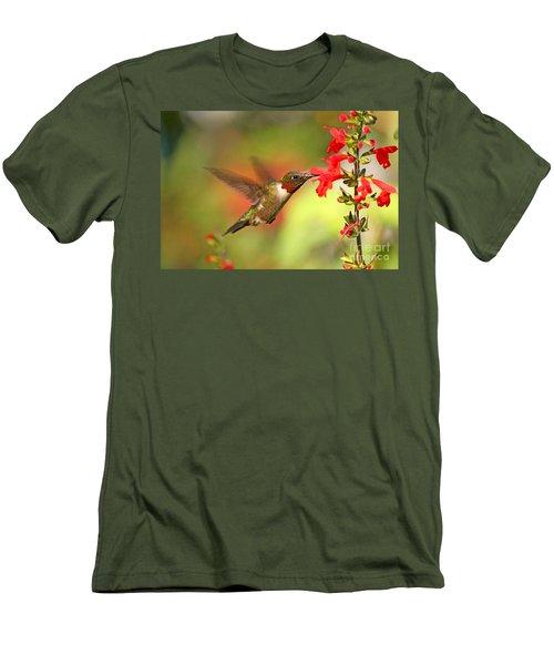 Ruby Throat Hummingbird Photo Men's T-Shirt (Slim Fit) by Luana K Perez