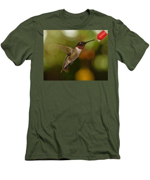 Men's T-Shirt (Slim Fit) featuring the photograph Ruby-throat Hummingbird by Robert L Jackson