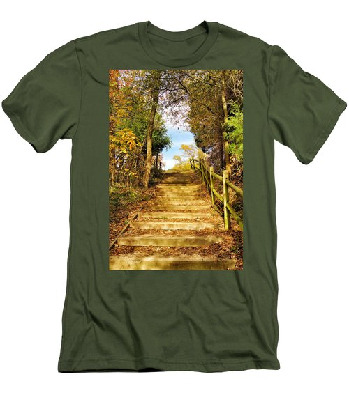 Men's T-Shirt (Slim Fit) featuring the photograph Rustic Stairway by Jean Goodwin Brooks