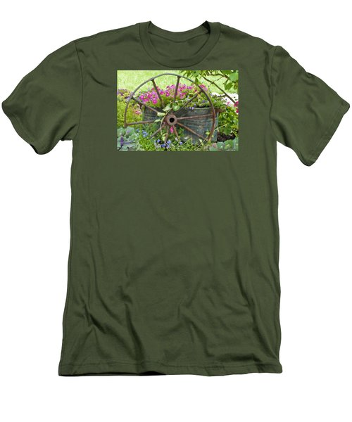 Men's T-Shirt (Slim Fit) featuring the photograph Rustic Wheel Digital Artwork by Sandra Foster