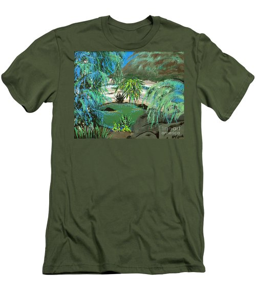 Men's T-Shirt (Slim Fit) featuring the painting Sacred Cenote At Chichen Itza by Alys Caviness-Gober