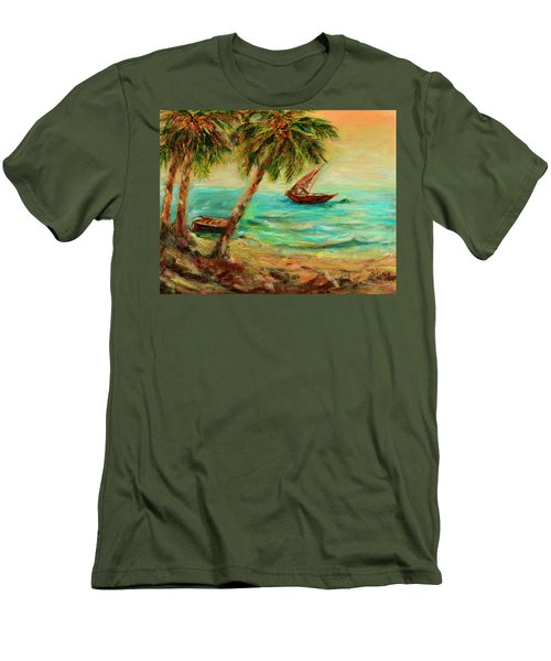 Men's T-Shirt (Slim Fit) featuring the painting Sail Boats On Indian Ocean  by Sher Nasser