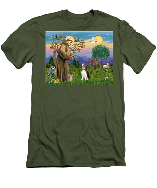 Saint Francis Blesses A Beagle Men's T-Shirt (Athletic Fit)