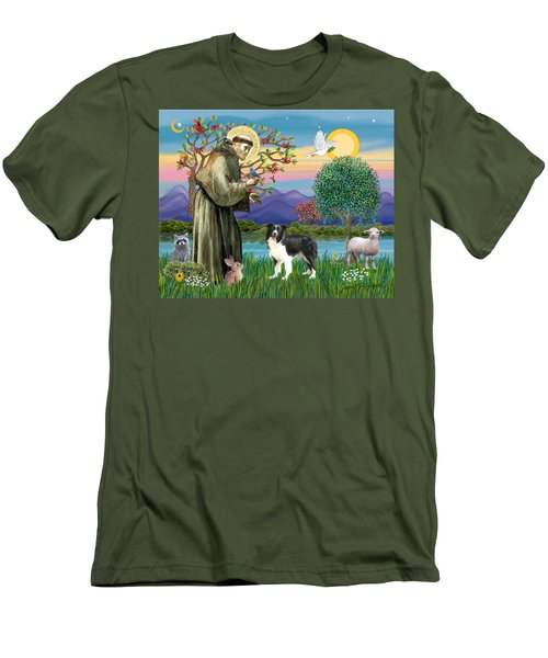 Saint Francis Blesses A Border Collie Men's T-Shirt (Athletic Fit)