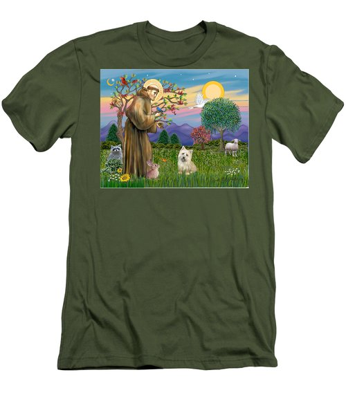 Saint Francis Blesses A Cairn Terrier Men's T-Shirt (Athletic Fit)