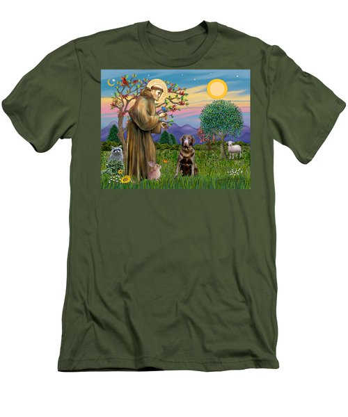 Saint Francis Blesses A Chocolate Labrador Retriever Men's T-Shirt (Athletic Fit)