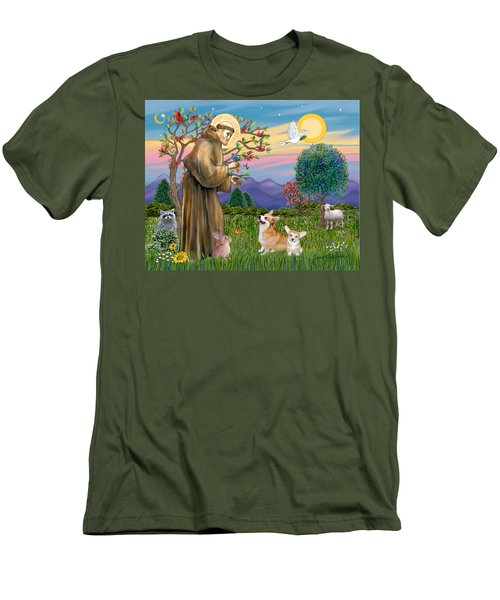 Saint Francis Blesses A Corgi And Her Pup Men's T-Shirt (Athletic Fit)