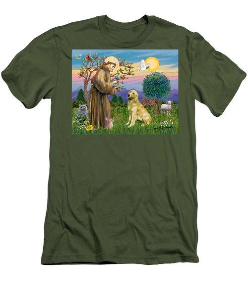 Saint Francis Blesses A Golden Retriever Men's T-Shirt (Slim Fit) by Jean Fitzgerald