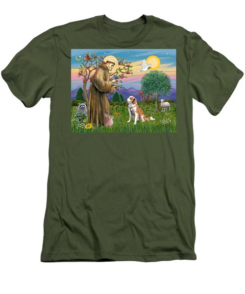 Saint Francis Blesses A Welsh Springer Spaniel Men's T-Shirt (Athletic Fit)