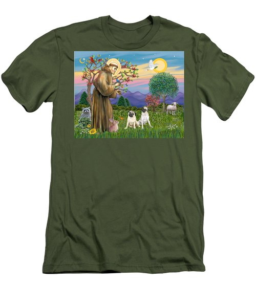 Saint Francis Blesses Two Fawn Pugs Men's T-Shirt (Athletic Fit)