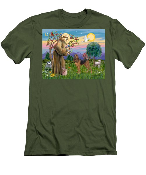 Saint Francis Blessing A Bloodhound Men's T-Shirt (Athletic Fit)