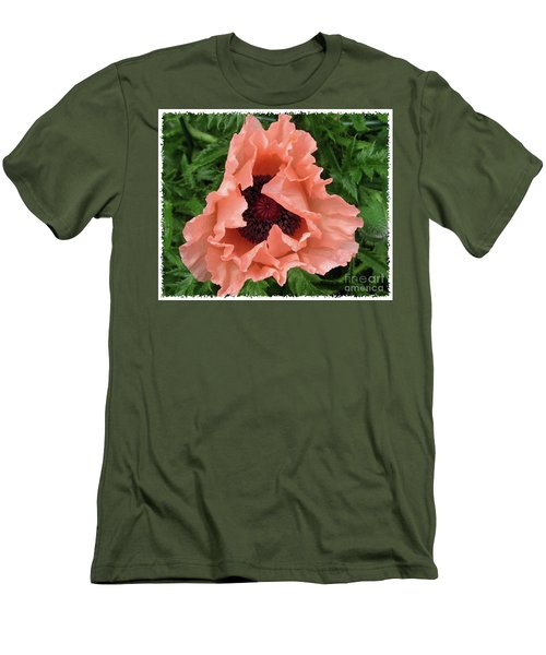 Salmon Colored Poppy Men's T-Shirt (Slim Fit) by Barbara Griffin